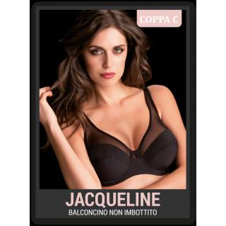 Reggiseno Love and bra Jacqueline modello balconcino Coppa C con ferretto non imbottito ART.JACQUELINE Bianco-Nero